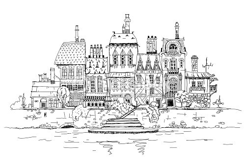 Old Town On The River Side Sketch Collection Stock