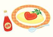 Omelet, close-up, illustration