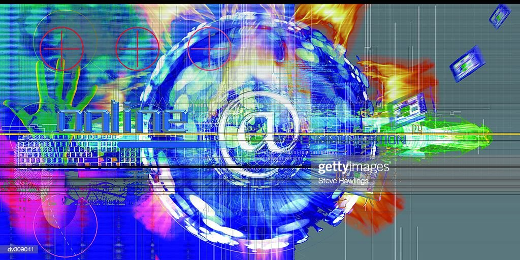 Online text superimposed on abstracted globe : Stock Illustration