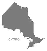 Ontario Canada Map in grey