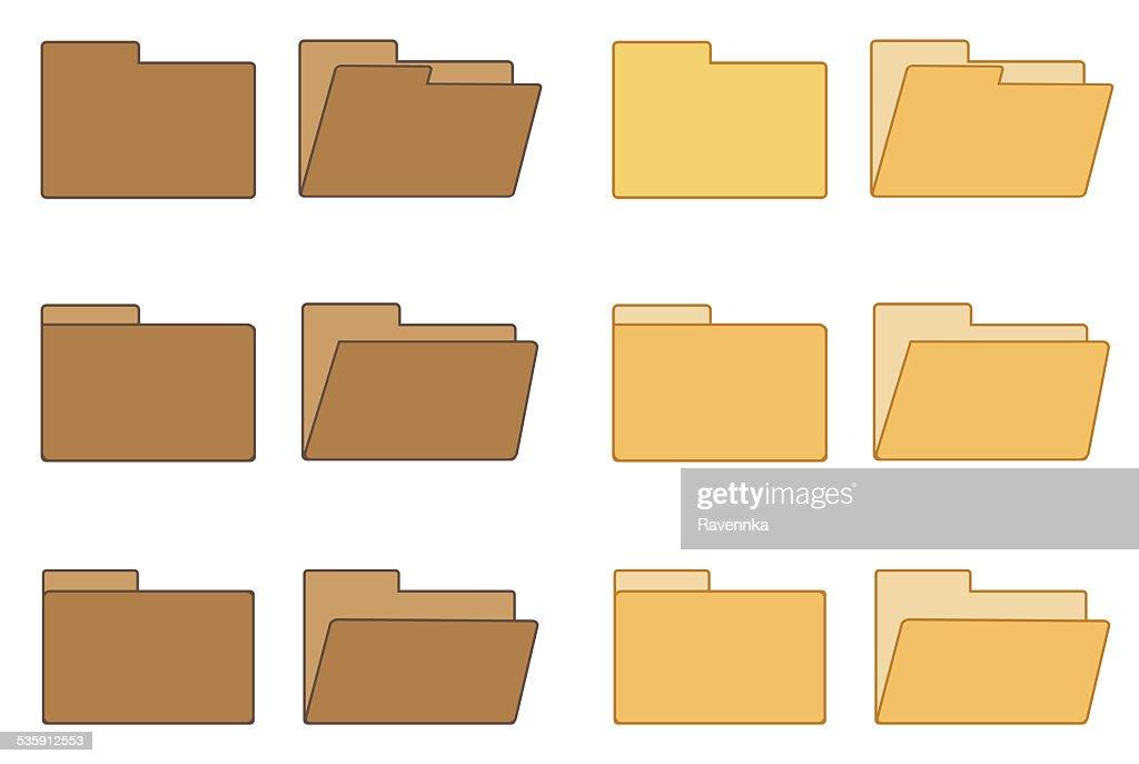 Aberto e fechado pasta de recolha : Ilustração de stock
