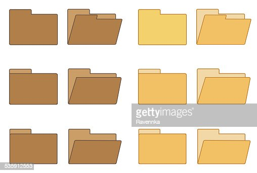 Open and closed folder collection : Stock Illustration