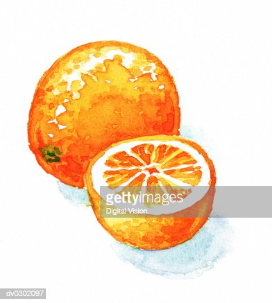 Orange Half and Whole : Stock-Illustration