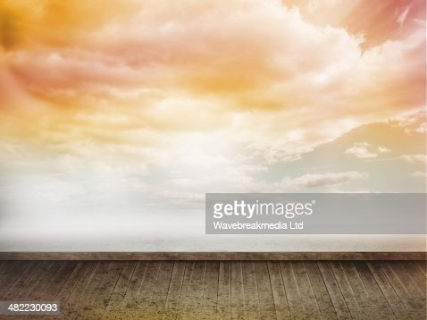Orange sky on wall : Stock Illustration