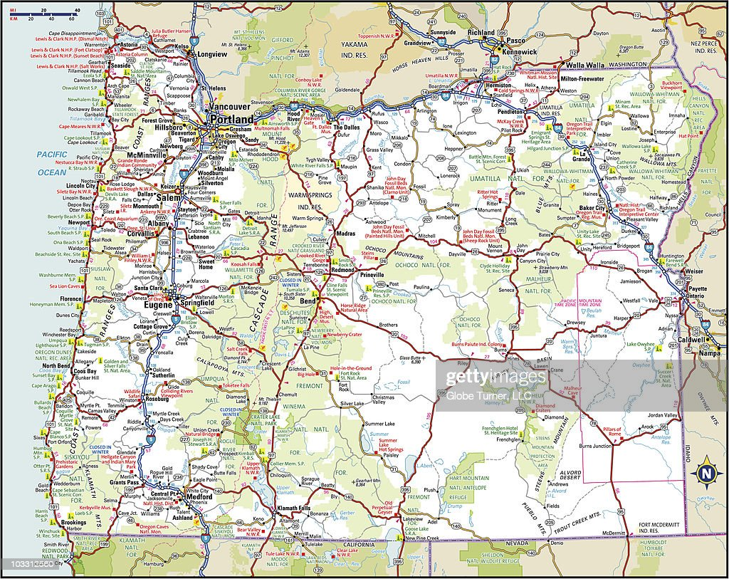 Oregon Highway Map Vector Art Getty Images - Map of oregon highways