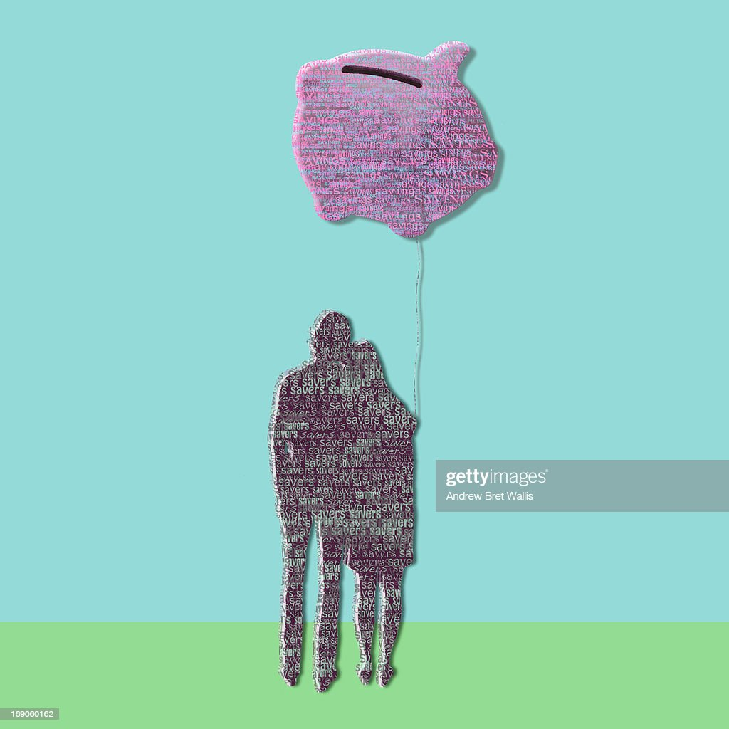 outline of young couple holding piggybank balloon : Stock Illustration