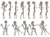 Outlines of fashionable women standing and sitting