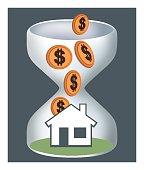 Owning home. accumulate, accumulation, home, homeowner, purchase, purchase, purchase, hourglass, time, saving, piggy bank, real estate, sales,