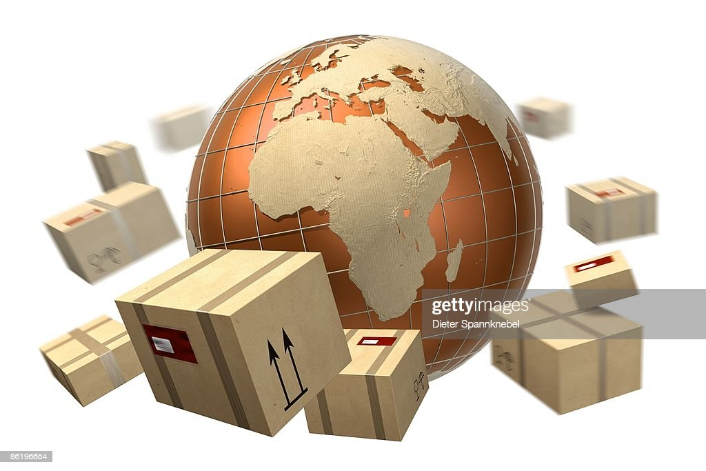 Packages orbit a globe with Europe and Africa : Stock Illustration