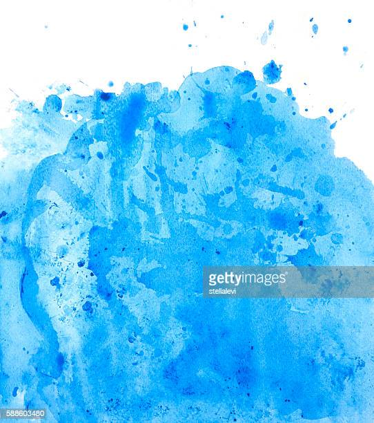 Painted blue watercolor background splash