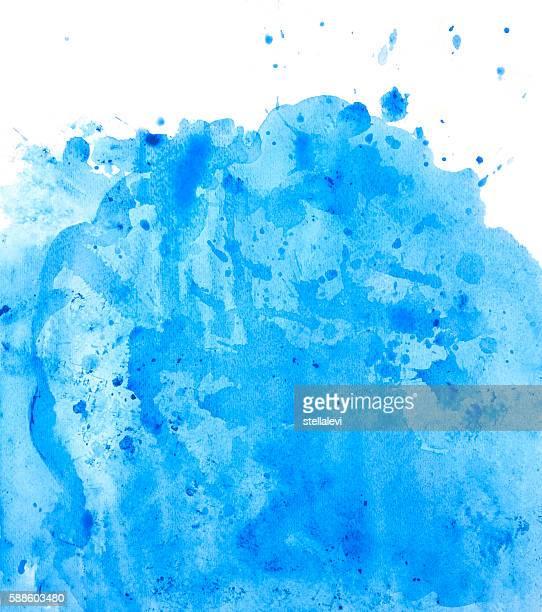 Painted blue watercolor background splash