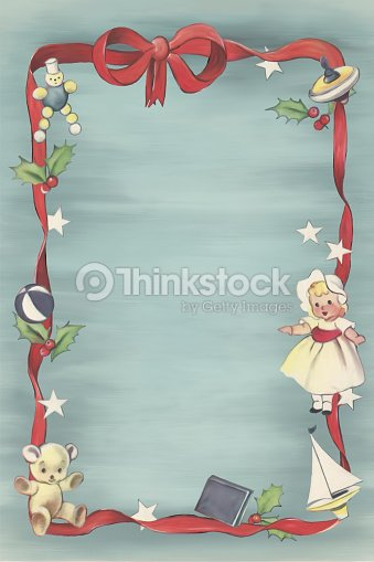 Painted Childrens Holiday Christmas Toys Background With Red Ribbon
