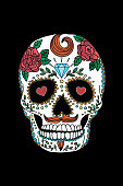 painted skull pattern in Mexican style. day of the dead. tradition