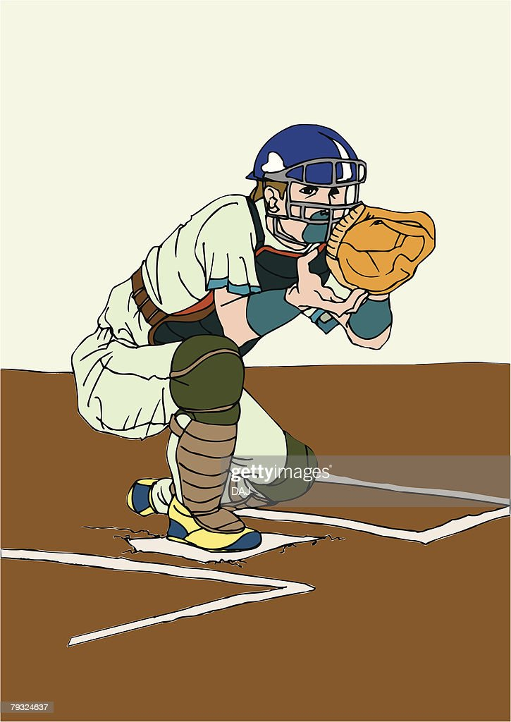 Painting of a catcher, Illustration : Vector Art