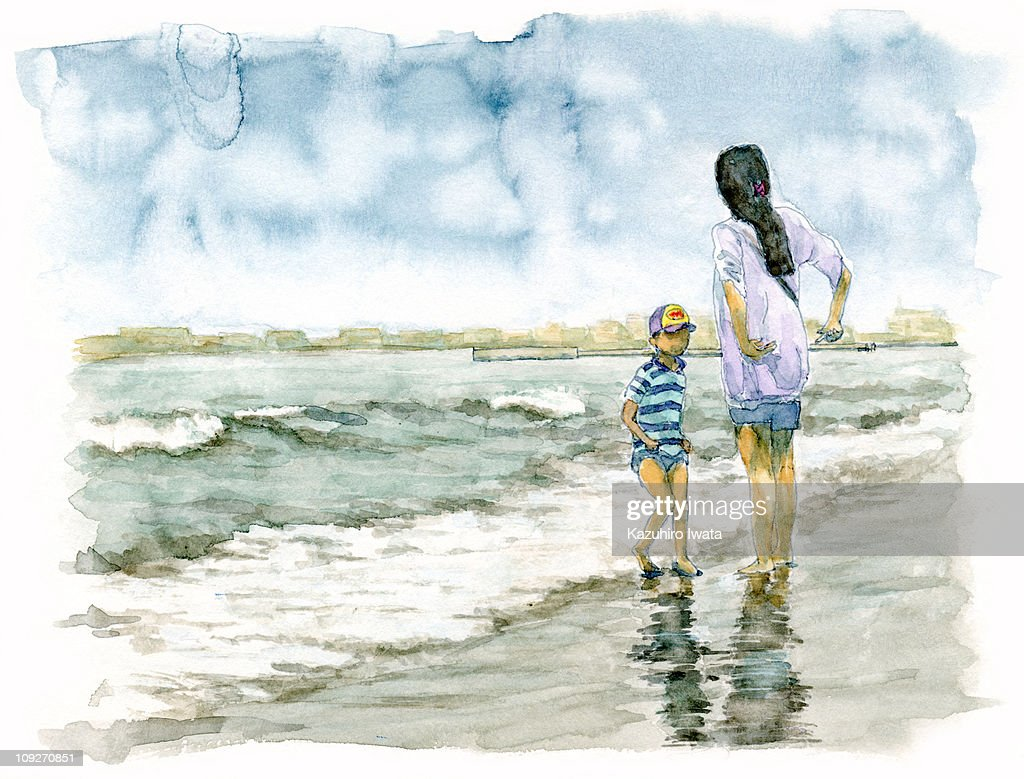 Painting of a mother and child playing in the sea : Stock Illustration