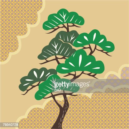 Painting of A Pine Tree Image, Woodcut : Vector Art