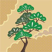 Painting of A Pine Tree Image, Woodcut