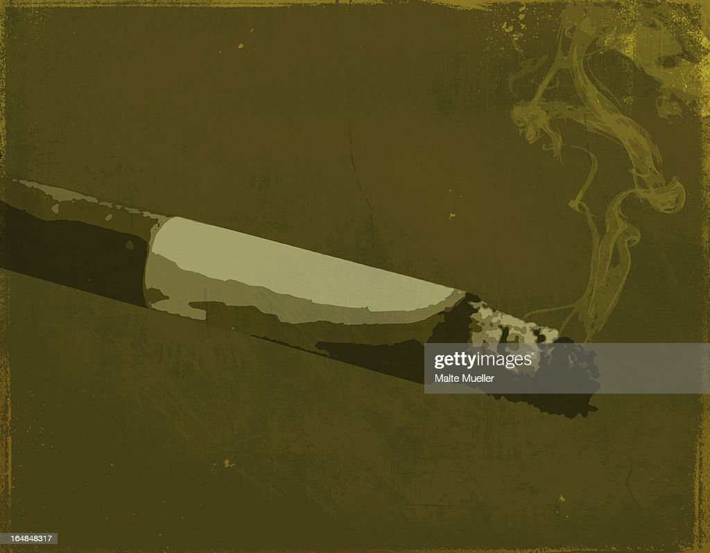 A painting of a smoking cigarette : Stock Illustration