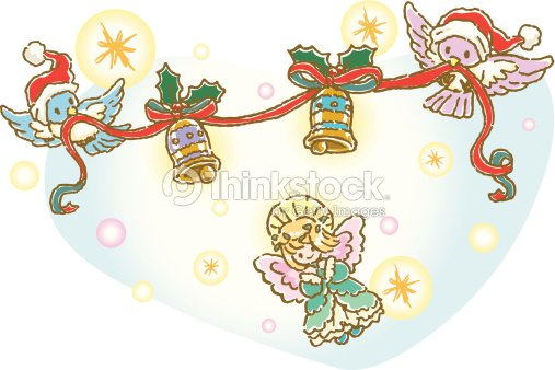 Painting of angel and birds holding Christmas Ornament, Illustration
