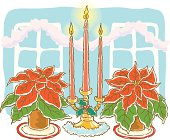 Painting of candles and Poinsettias on the table, Illustration
