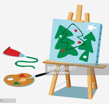 Painting Of Christmas Trees On An Easel Palette Brush Tube Of Green