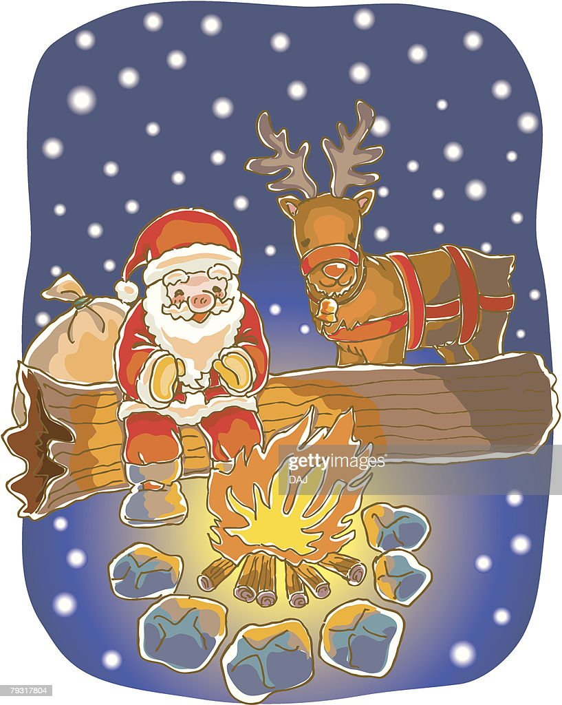 painting of santa claus and reindeer by the fire illustration