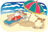 Painting of Santa Claus and reindeer on vacation, Illustration