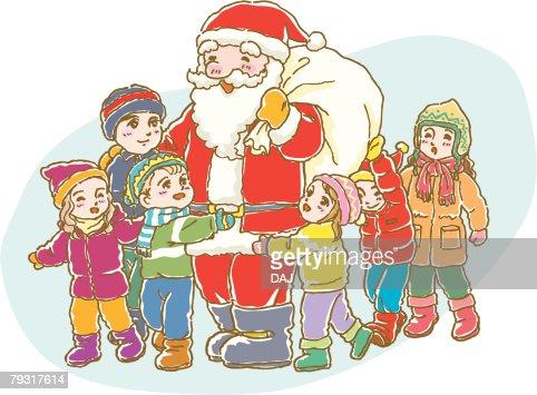 Painting of Santa Claus with Children, Illustration : Arte vettoriale