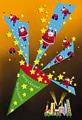 Painting of Santa Clauses popping out of Christmas cracker, Illustration
