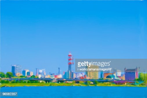 Painting of skyline, Mito city, Ibaraki Prefecture, Honshu, Japan : Stock Illustration