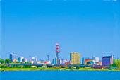 Painting of skyline, Mito city, Ibaraki Prefecture, Honshu, Japan