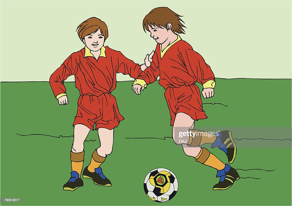 Painting of two boys playing football game, Illustration : Vector Art