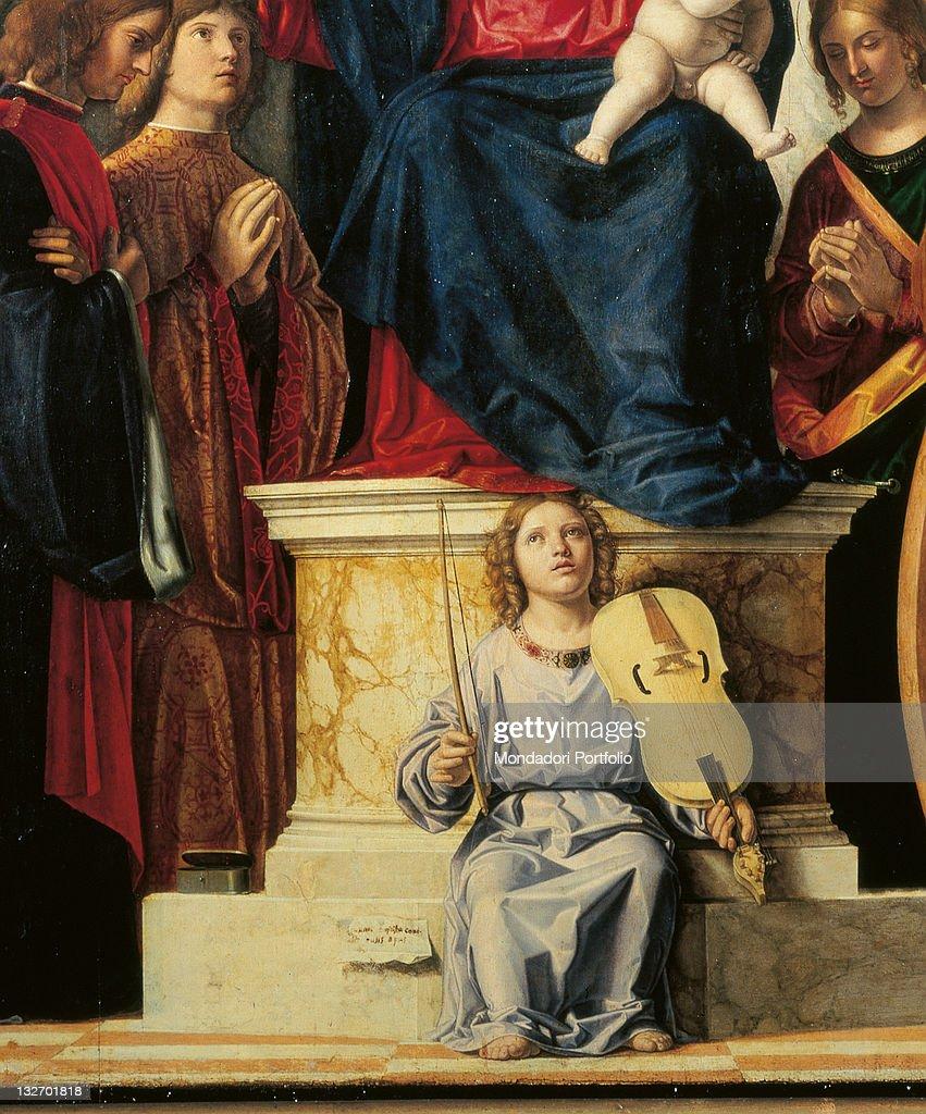 Pala Montini (Madonna with Child among Sts John the Baptist, Cosmas, Damian, Apollonia, Catherine and Paul), by Giovanni Battista Cima da Conegliano known as Cima da Conegliano, 1505 - 1507, 16th Century, oil on panel, cm 209 x 125. : Beaux-arts