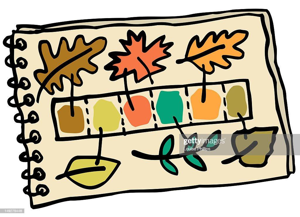 A palette of colors based on leaves : Stock Illustration