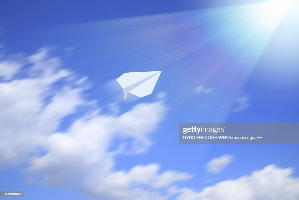 Paper airplane flying in the sky, CG : Stock Illustration
