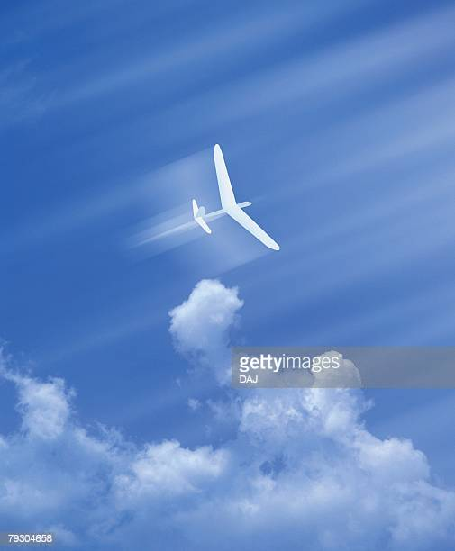 Paper airplane in the sky, low angle view, Computer Graphics, composition