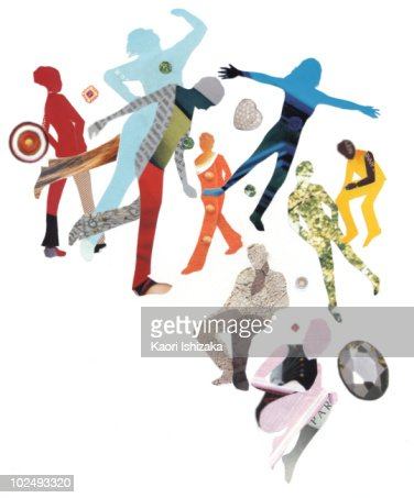 Paper collage of human figures in different poses : Stock Illustration
