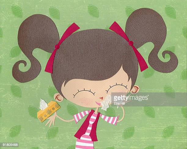 A paper cut illustration of a girl using tissues on a runny nose