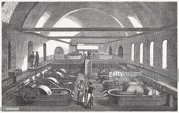 Paper factory, washing and bleaching, wood engraving, published in 1876