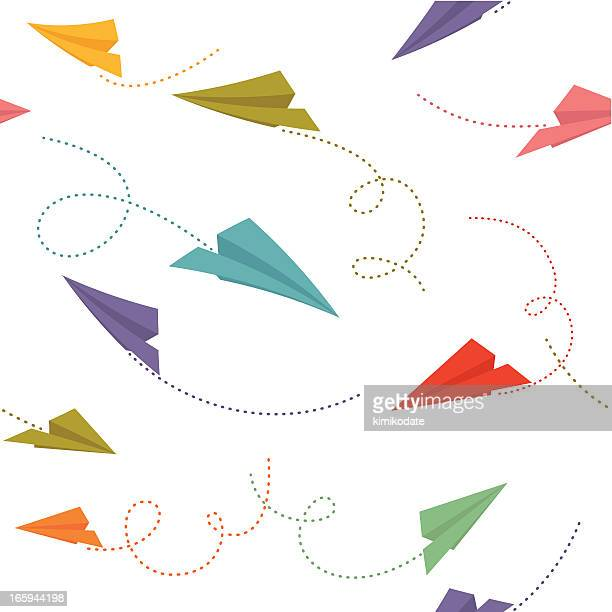 Paper planes seamless pattern