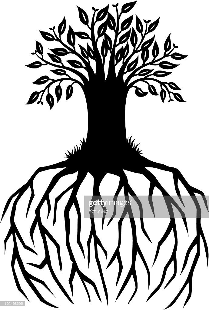 A paper-cut design of a tree with long extended roots : Stock Illustration