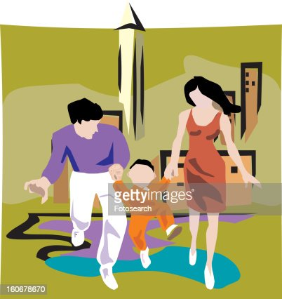 Parents carrying their child with building in background : Stock Illustration
