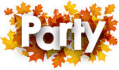 Party autumn background with golden maple and oak leaves. Vector illustration.