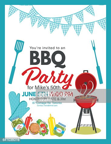 Bbq Party Invitation Template Vector Art | Getty Images