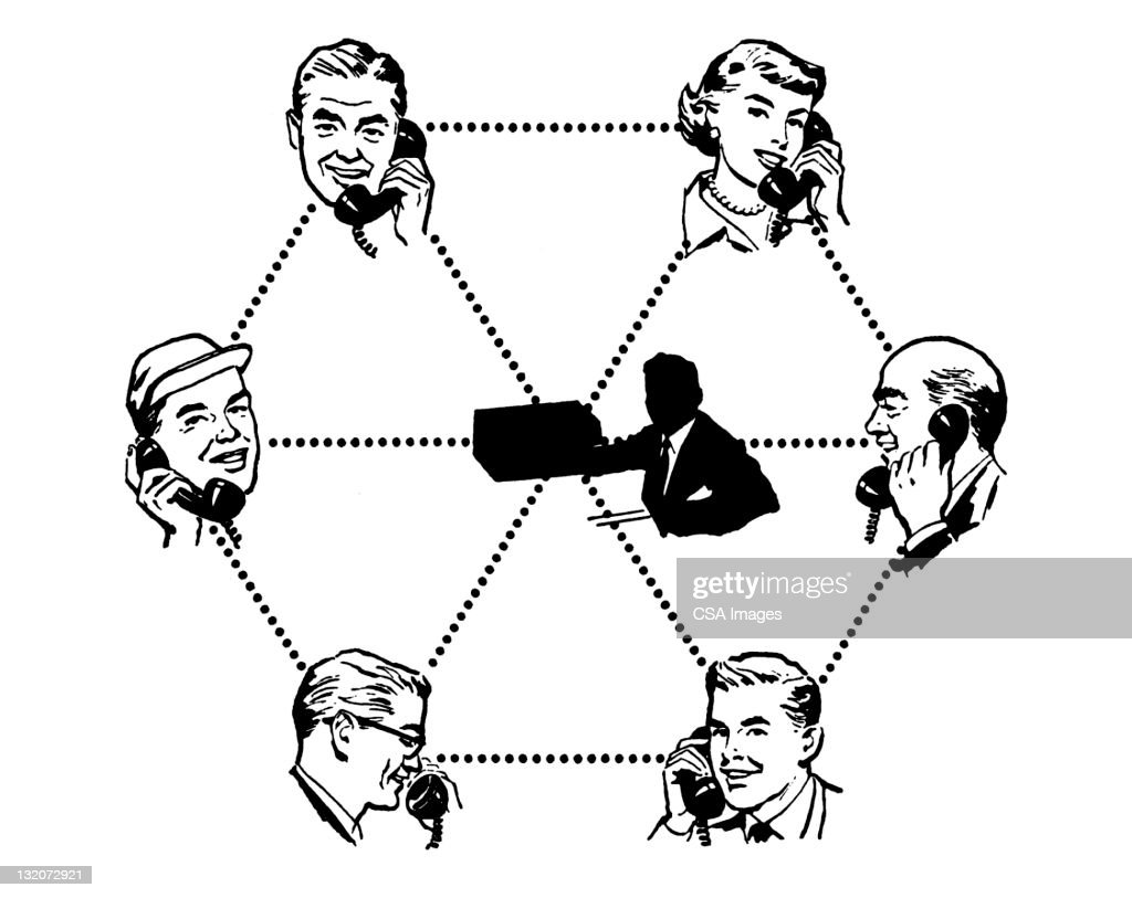 party line people on telephone stock illustration