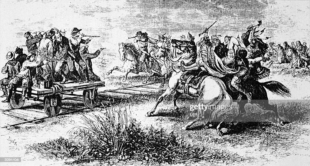 A party of Native Americans attacking a handcar on the Union Pacific Railway near the River Platte