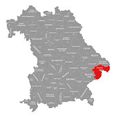 Passau county red highlighted in map of Bavaria Germany