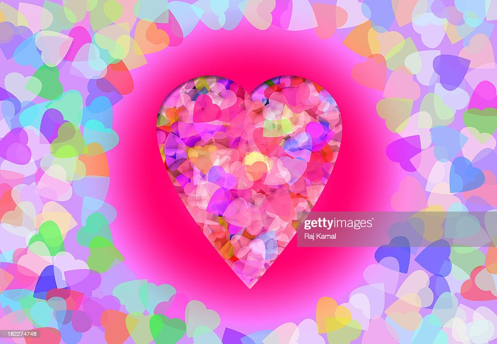 Pastel Frame of Hearts.Creative Abstract Design : Stock Illustration