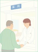 Patient and pharmacist, Illustration