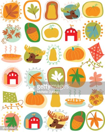 A pattern of pumpkins, moose, leaves and harvest in the autumn : Stock Illustration